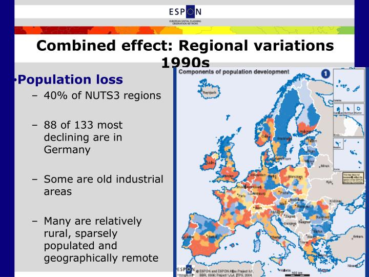 Combined effect: Regional variations 1990s