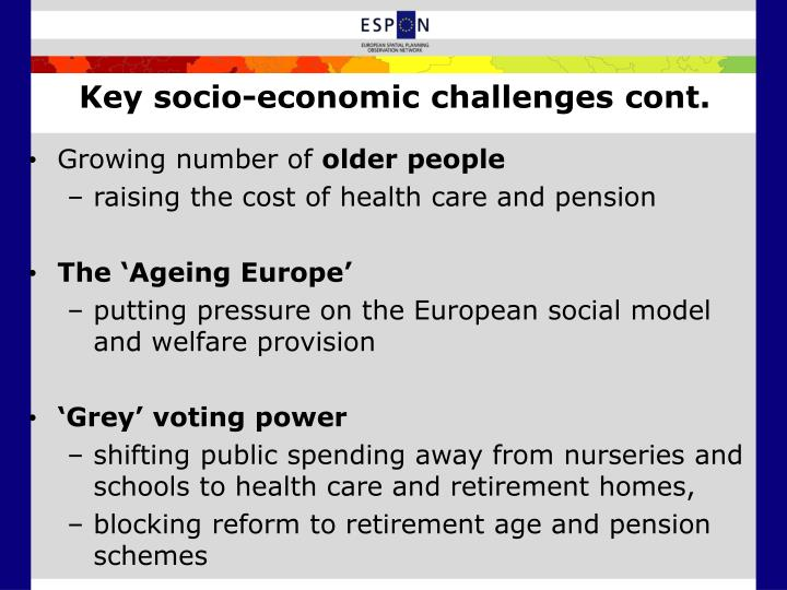 Key socio-economic challenges cont.
