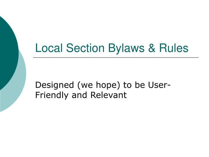 Local section bylaws rules