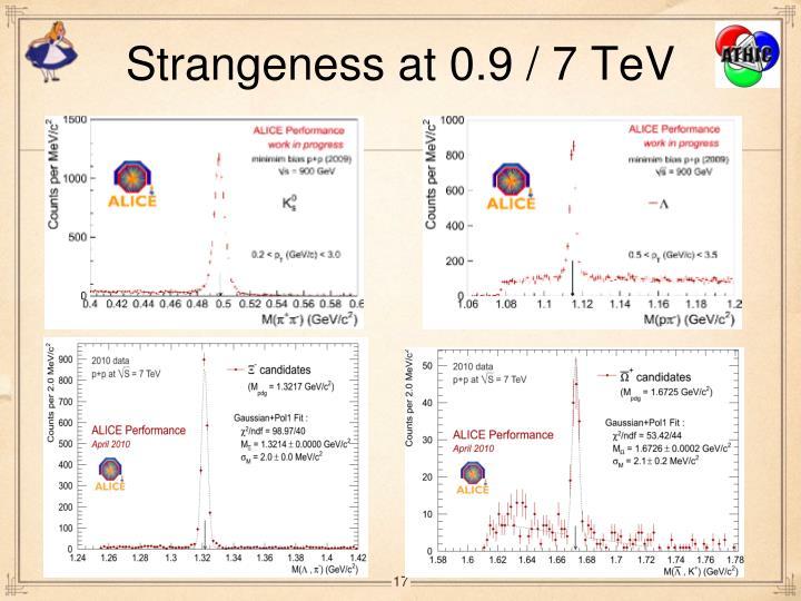 Strangeness at 0.9 / 7 TeV