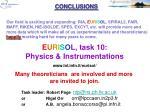 e u r i s o l task 10 physics instrumentations