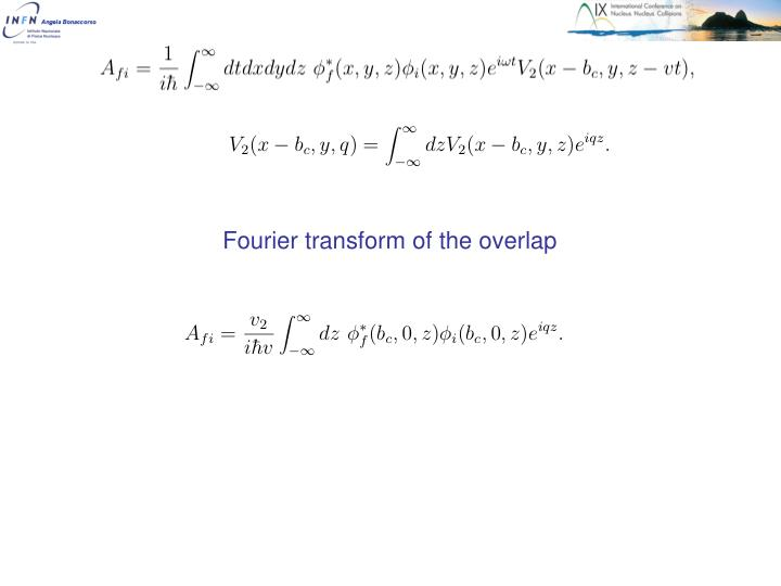 Fourier transform of the overlap
