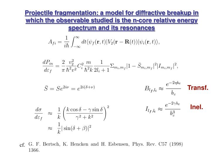 Projectile fragmentation: a model for diffractive breakup in which the observable studied is the n-core relative energy spectrum and its resonances