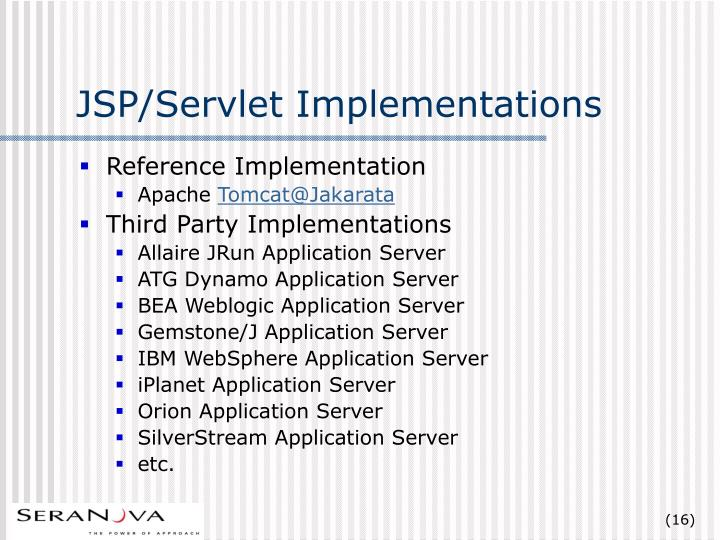JSP/Servlet Implementations