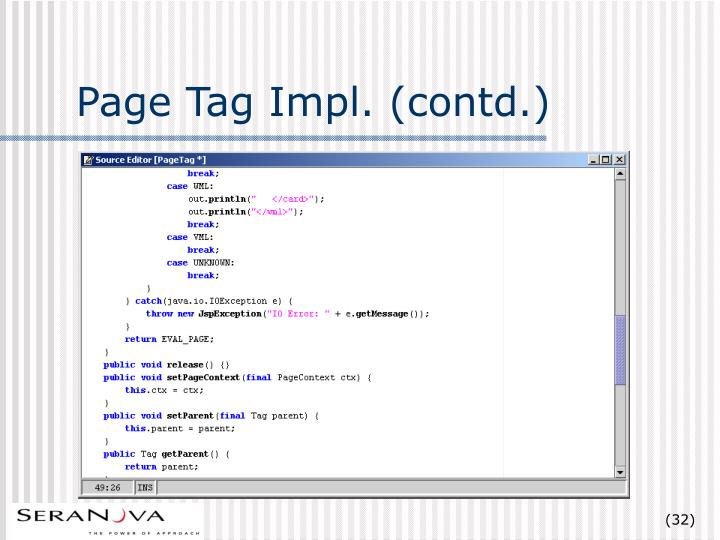 Page Tag Impl. (contd.)