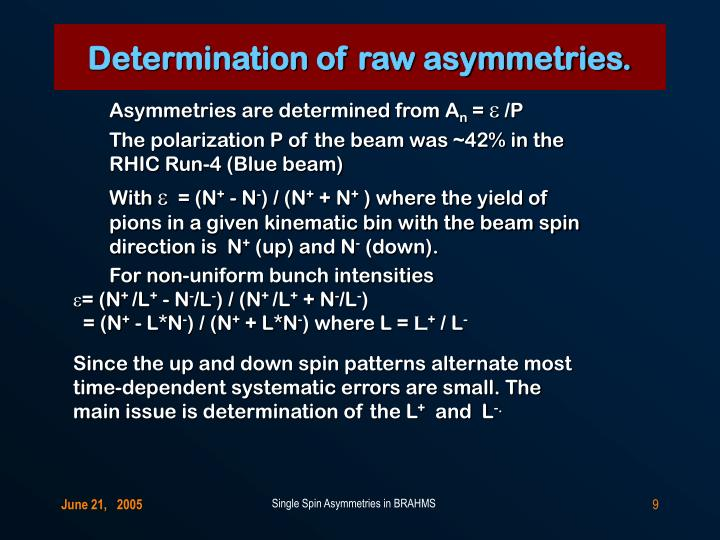Determination of raw asymmetries.