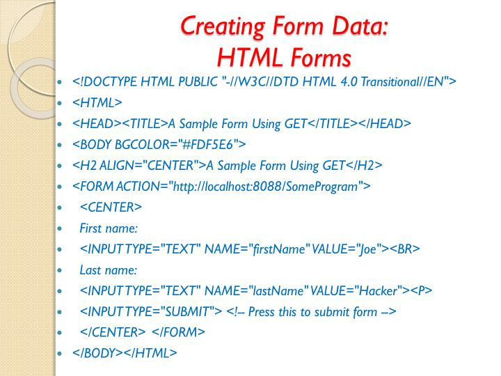 Creating Form Data:
