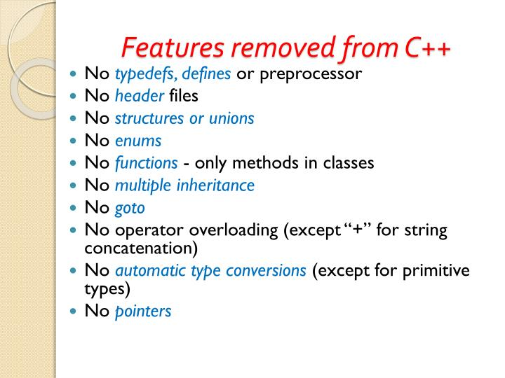 Features removed from C++