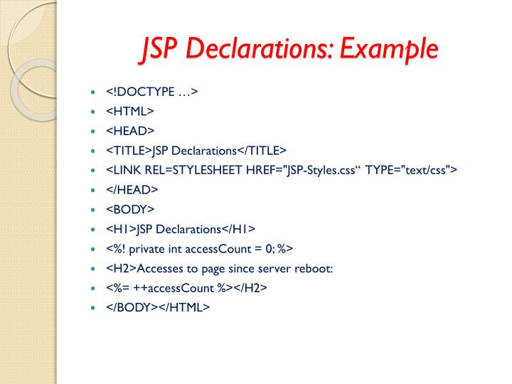 JSP Declarations: Example