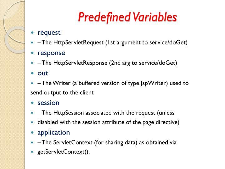 Predefined Variables