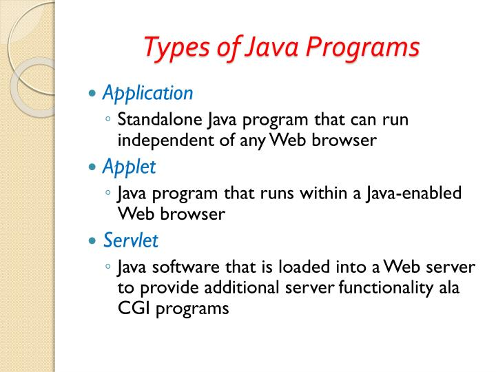 Types of Java Programs