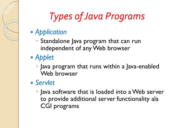 Types of Java Programs