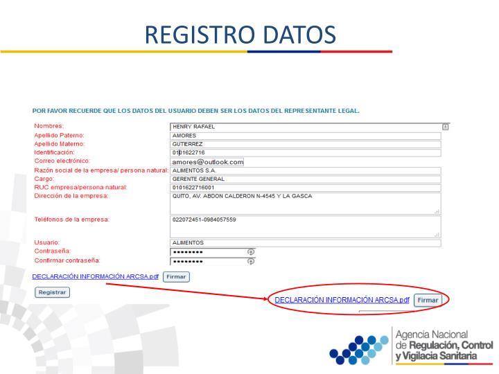 REGISTRO DATOS