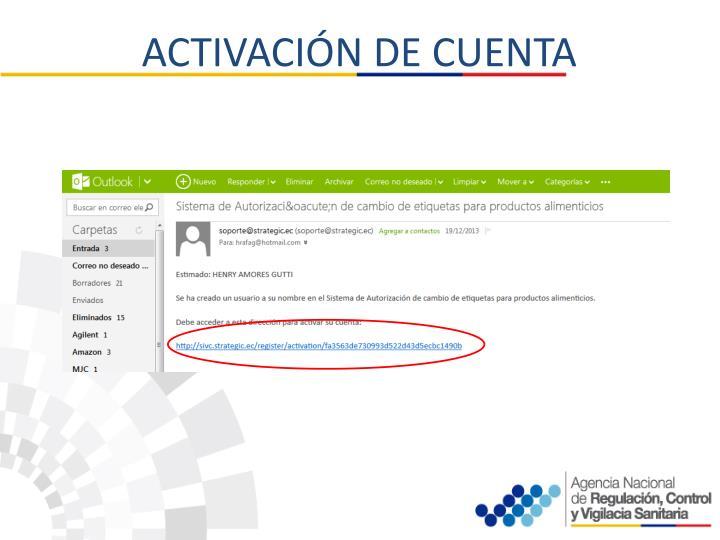 ACTIVACIÓN DE CUENTA