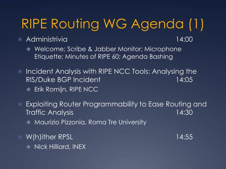 Ripe routing wg agenda 1