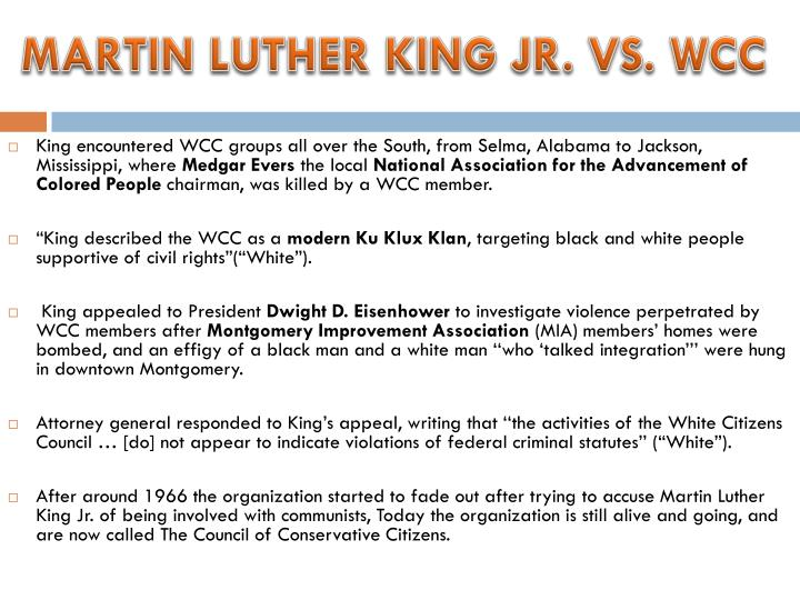 MARTIN LUTHER KING JR. VS. WCC
