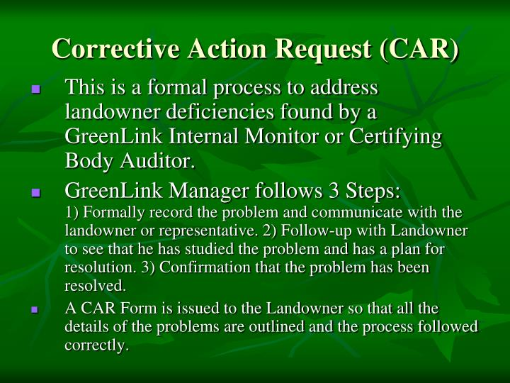 Corrective Action Request (CAR)