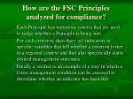 how are the fsc principles analyzed for compliance