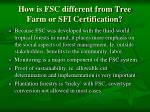 how is fsc different from tree farm or sfi certification