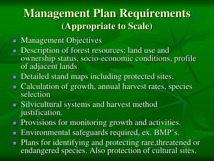 Management Plan Requirements