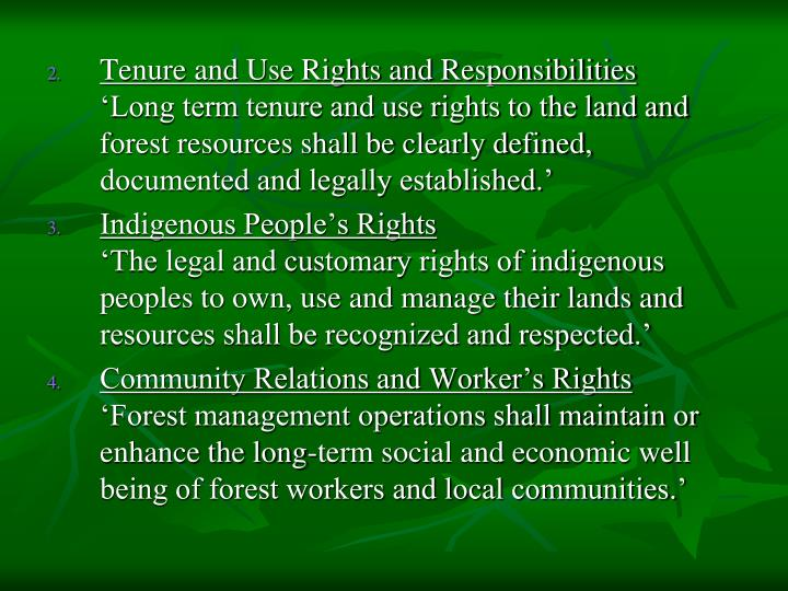 Tenure and Use Rights and Responsibilities