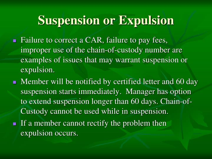 Suspension or Expulsion