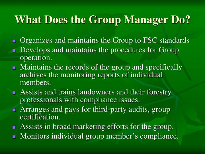 What Does the Group Manager Do?