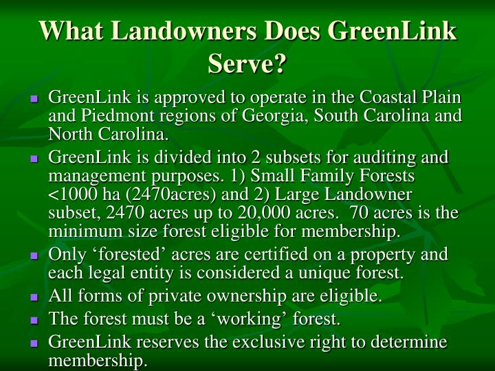 What Landowners Does GreenLink Serve?