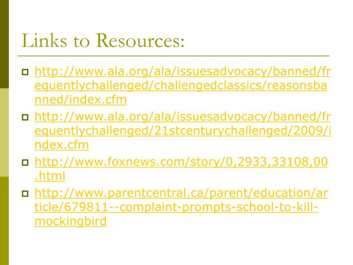 Links to Resources: