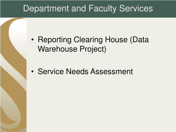 Department and Faculty Services