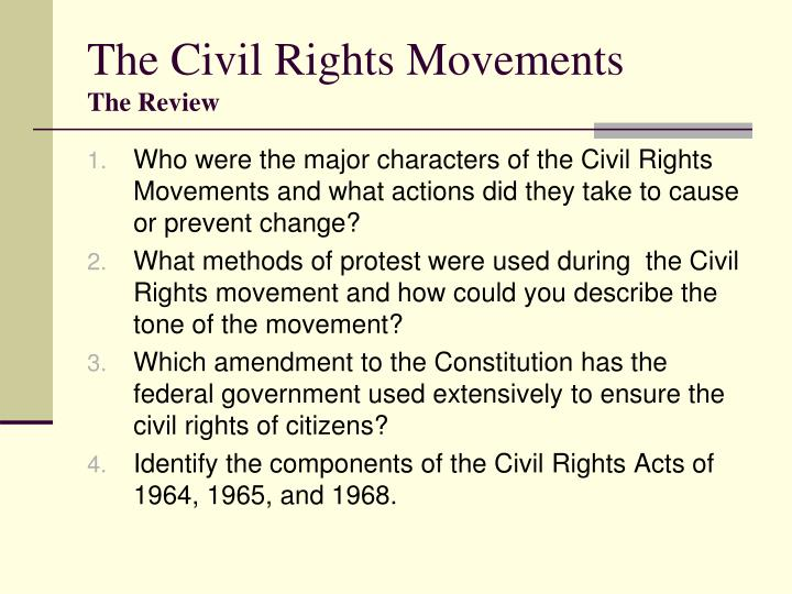 the civil rights movements notes The civil rights movement was a mass popular movement to secure for african americans equal access to and opportunities for the basic privileges and rights of us citizenship although the roots of the movement go back to the 19th century, it peaked in the 1950s and 1960s.