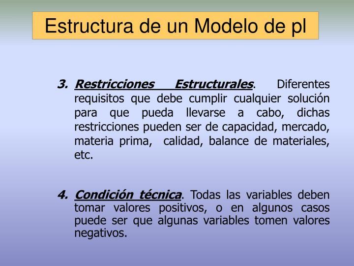 Estructura de un Modelo de pl