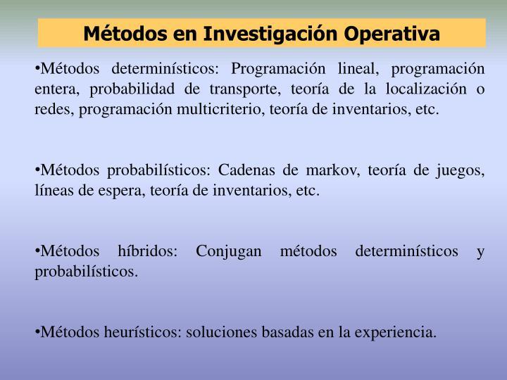 Métodos en Investigación Operativa