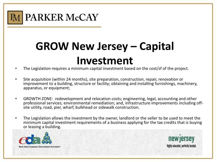 GROW New Jersey – Capital Investment