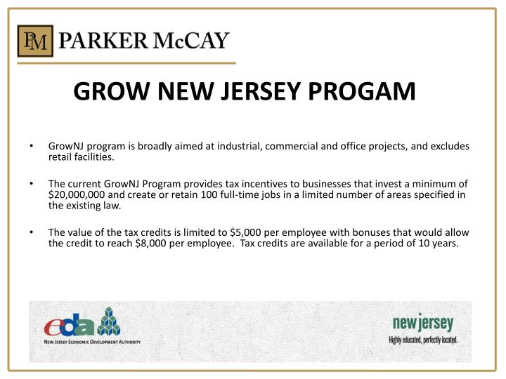 GROW NEW JERSEY PROGAM