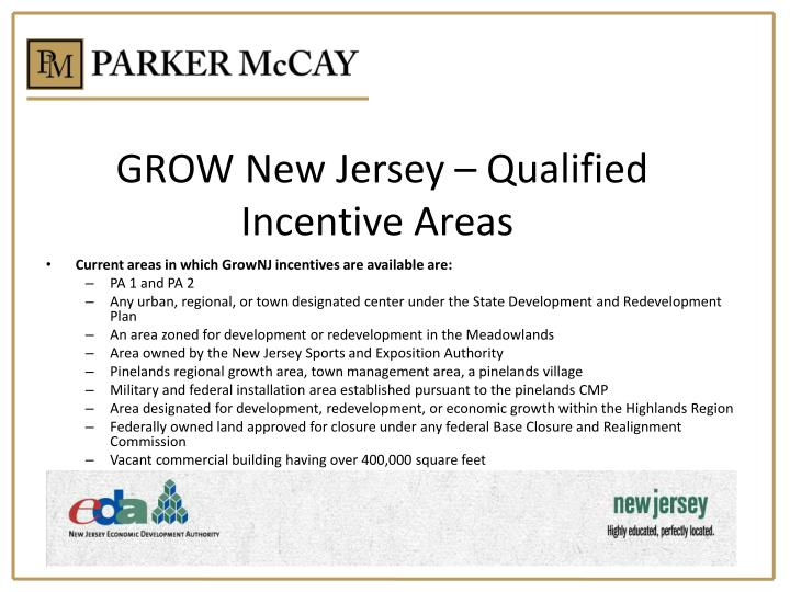 GROW New Jersey – Qualified Incentive Areas