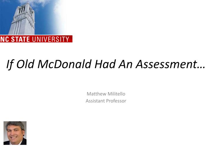 If old mcdonald had an assessment