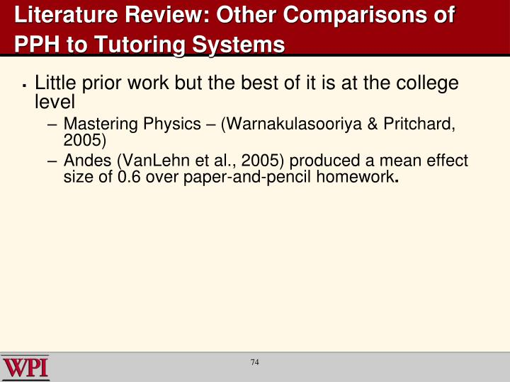 Literature Review: Other Comparisons of PPH to Tutoring Systems