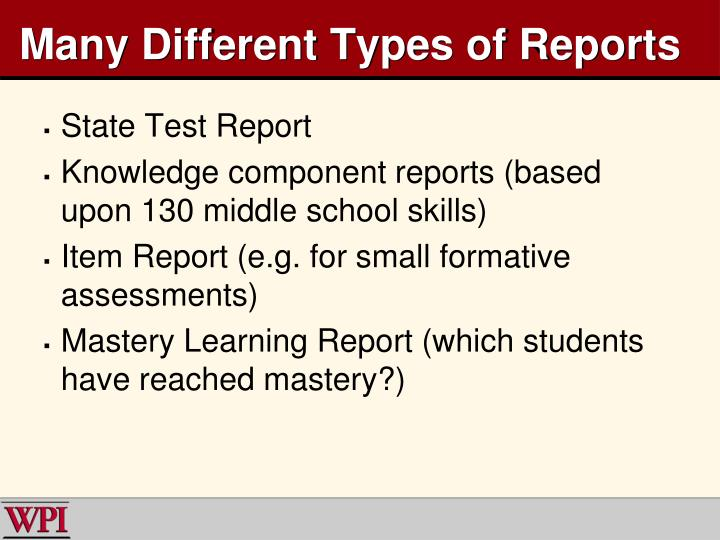 Many Different Types of Reports