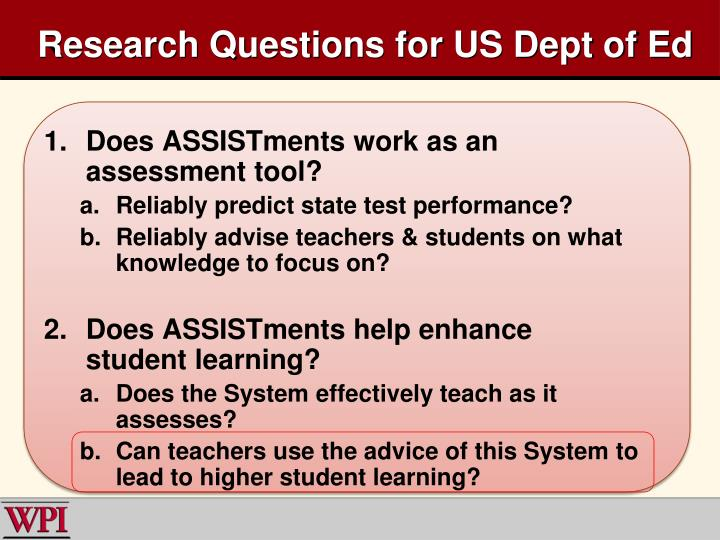 Research Questions for US Dept of Ed
