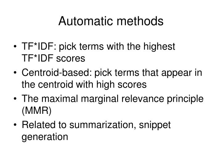 Automatic methods