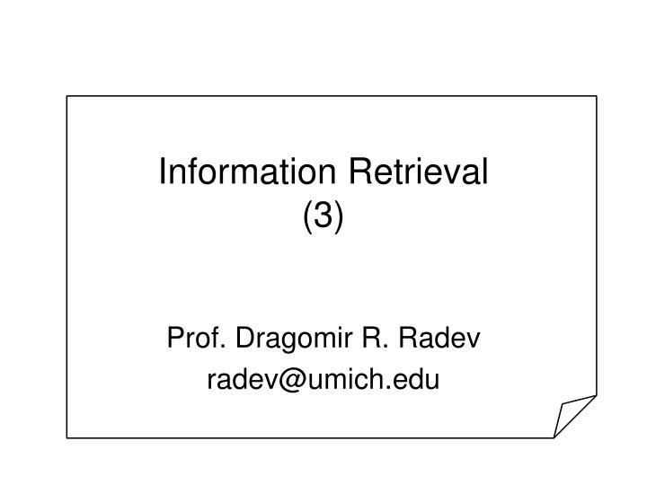 Information retrieval 3