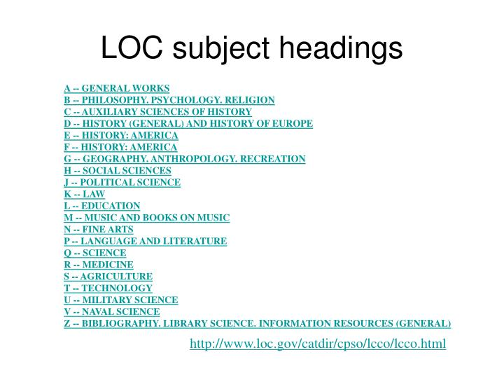 LOC subject headings