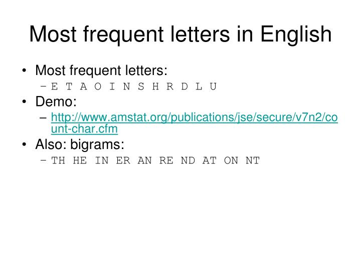 Most frequent letters in English