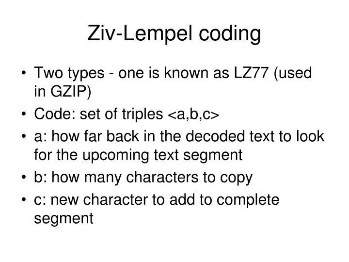 Ziv-Lempel coding