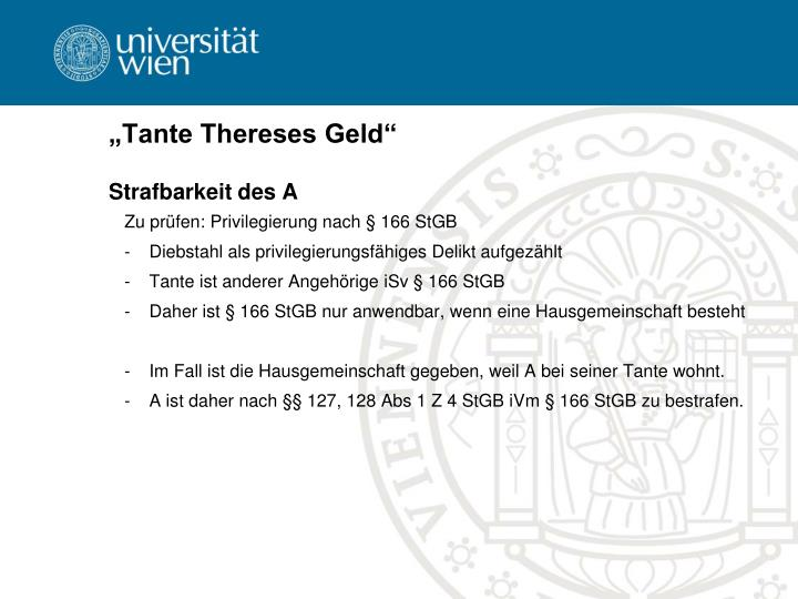 """Tante Thereses Geld"""