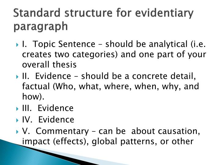 Standard structure for evidentiary paragraph
