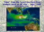 haze from the forest peatland fires blankets much of se asia sept 1997 nasa satellite image