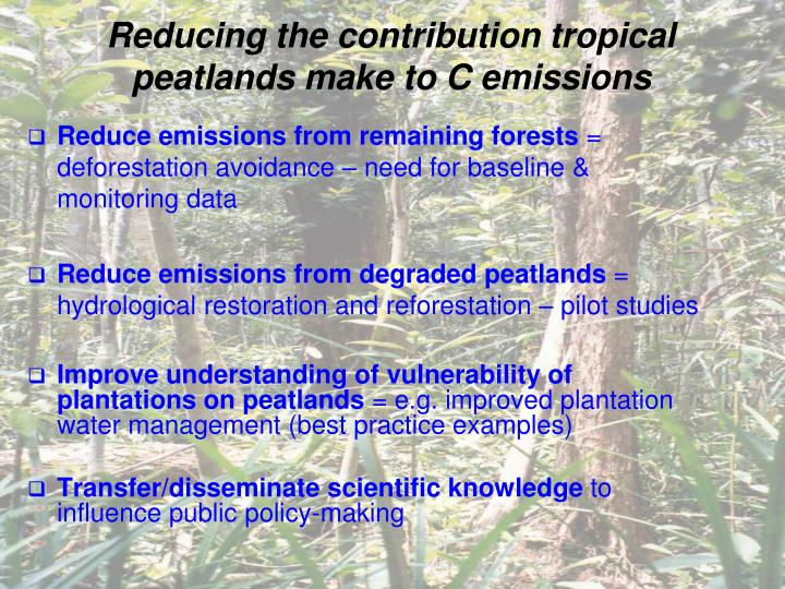 Reducing the contribution tropical peatlands make to C emissions