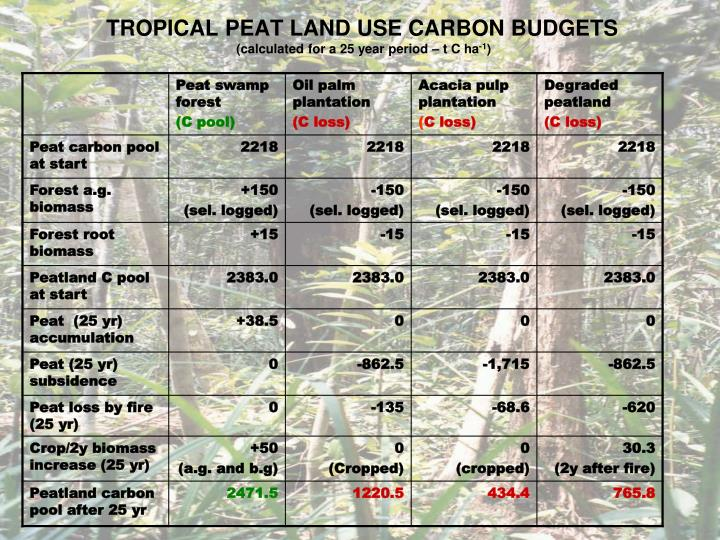 TROPICAL PEAT LAND USE CARBON BUDGETS